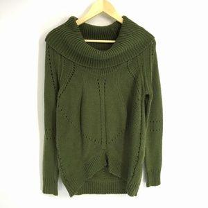 Loft Green Cowl Neck Wool Blend Knitted Sweater